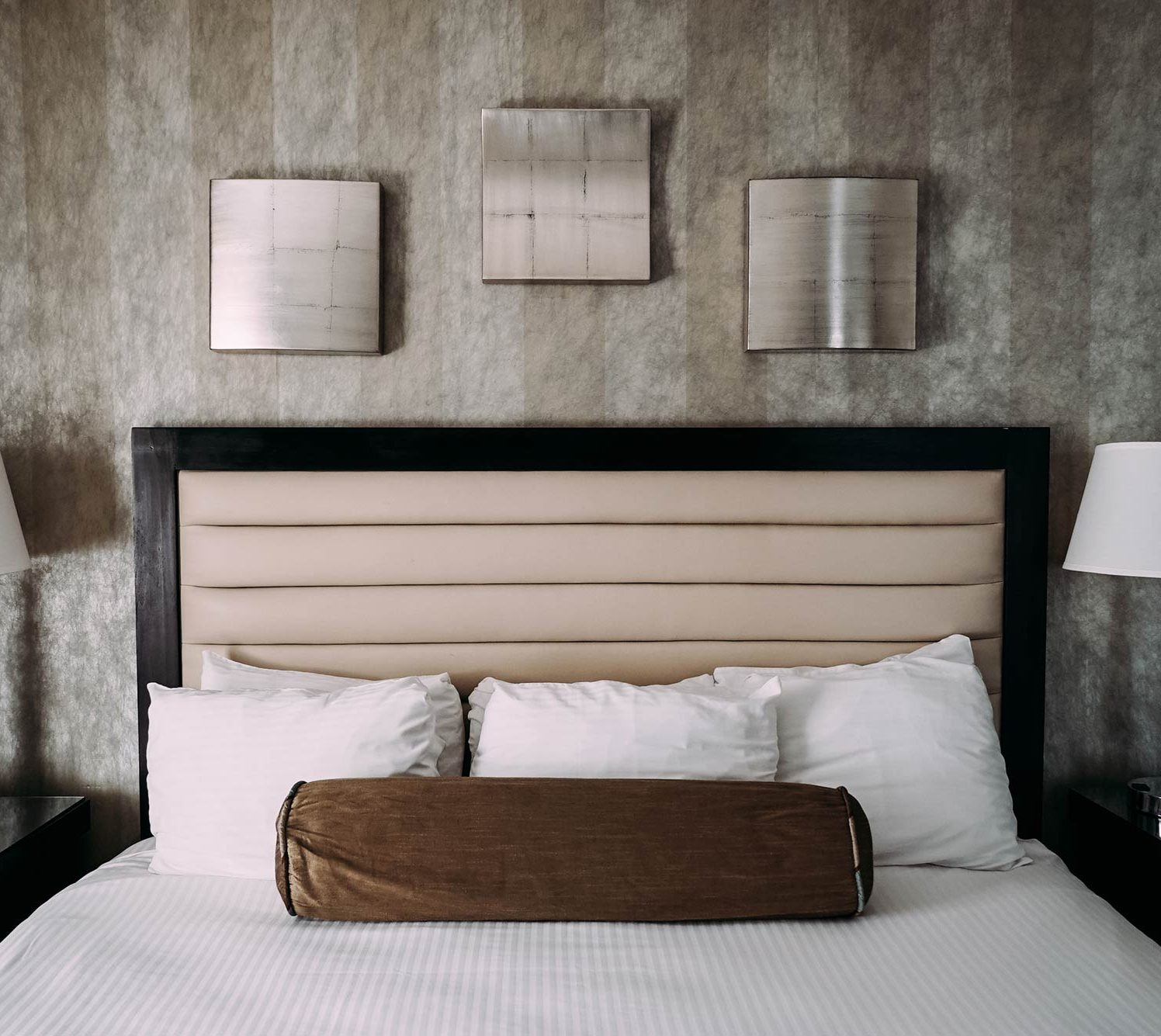 View of a bed headboard