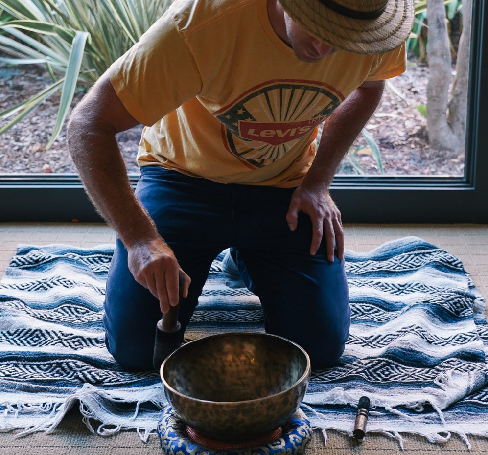 Man participating in sound healing