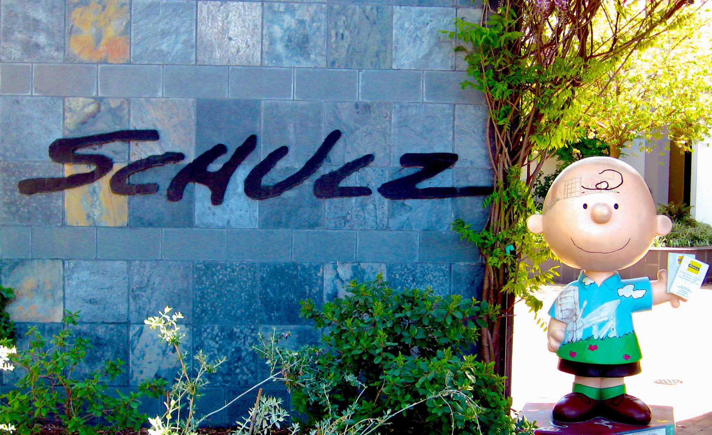 Entrance to Charles M. Schulz Museum, with a statue of Charlie Brown next to it, Santa Rosa, Ca